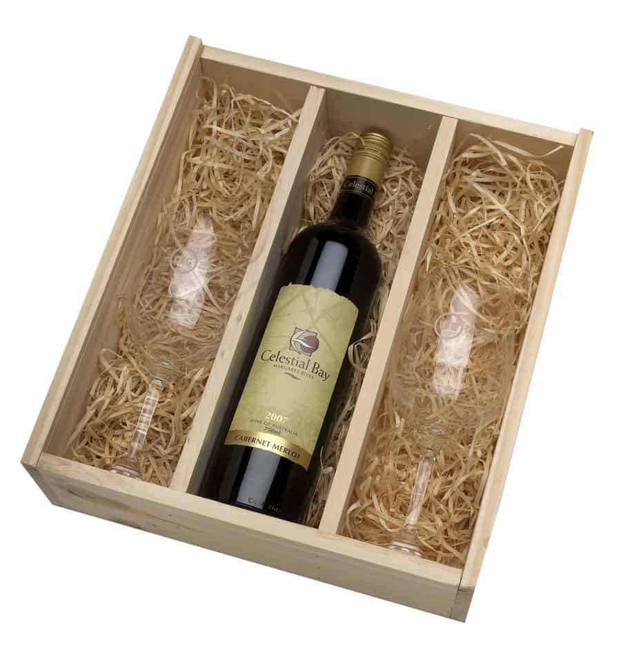 Timber Wine Box With Two Spiegelau Glasses