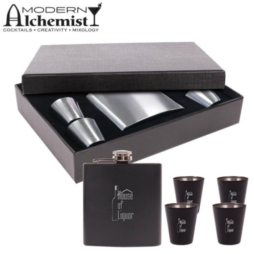 Whiskey flask with shot glasses