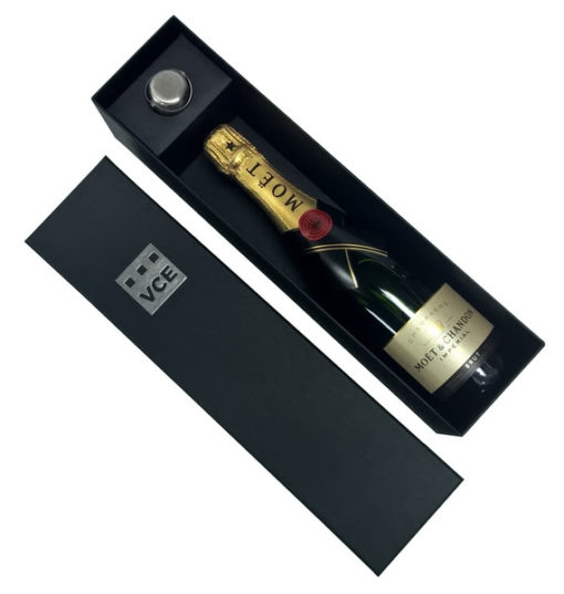 moet box with champagne stopper