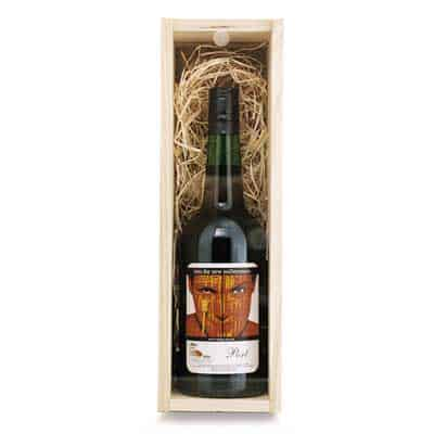 Timber wine box with custom label port