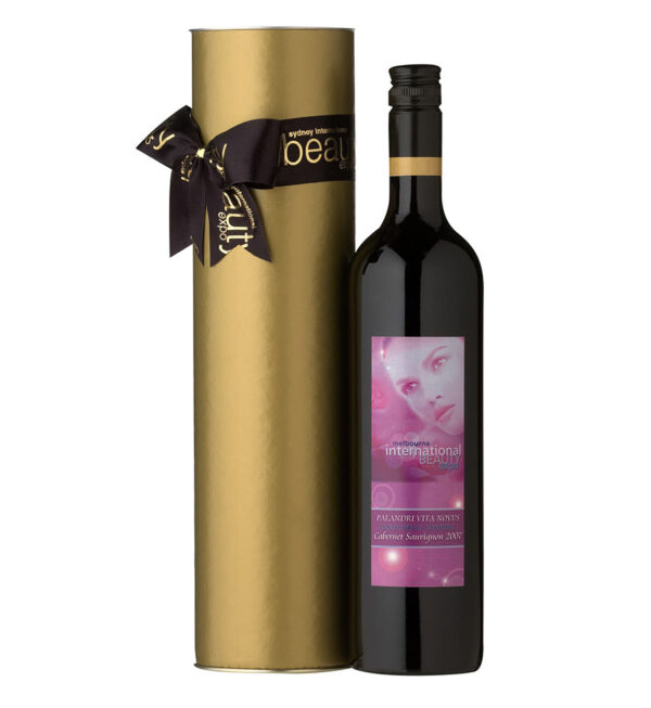 Wine Cylinder With Custom Satin Bow 2