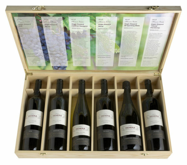 Six Bottle Wine Box With Hinged Lid $49 2